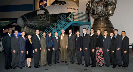 Astronaut Class of 2004 with managers (NASA photo JSC2006-E-03626)