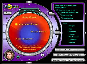 Screenshot from Astro-Venture's Design a Planet module