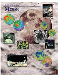Several pictures of the moon are superimposed over the rocky landscape of the lunar surface
