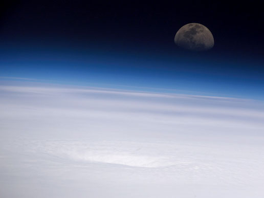 Panoramic view of the eye of Hurricane Emily, looking eastward toward the rising moon.