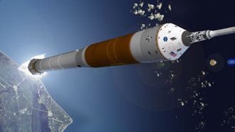 An artist's concept drawing of the new crew launch vehicle launching from NASA's Kennedy Space Center.