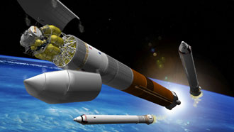 An artist's concept drawing of the new cargo launch vehicle after launching from NASA's Kennedy Space Center.