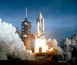 First launch of STS-1 space shuttle Columbia