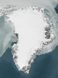 The Greenland ice sheet gained more ice from snowfall at high altitudes than it lost from melting ice along its coast.