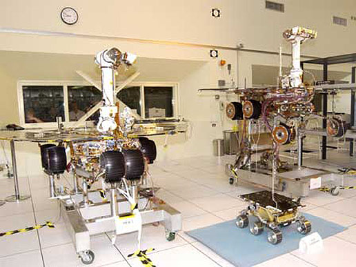 The twin rovers of the Mars Exploration Rover Mission.