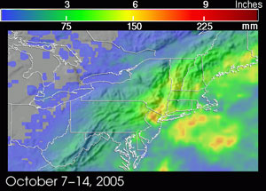 A slow moving frontal system brought persistent rains and flooding to the northeast U.S. from Oct. 7 to 14, 2005.