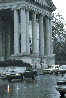 This is a picture of Memorial Continental Hall during a summer rain storm in Washington, D.C.