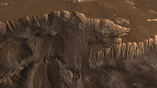 scene from Flight Through Mariner Valley showing Mars canyon