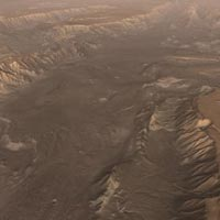 a view of Melas Chasma, a scene from video showing simulated flight ove Valles Marineris