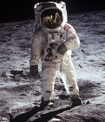 Buzz Aldrin during the Apollo 11 moonwalk