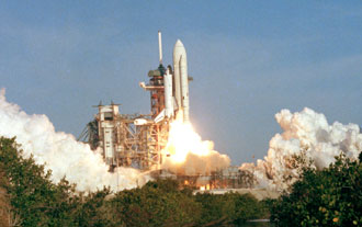 Columbia lifts off from NASA's Kennedy Space Center on April 12, 1981