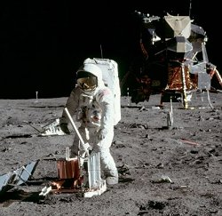 Buzz Aldrin deploys a seismometer in the Sea of Tranquillity.