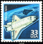 Stamp celebrating John Glenn's return to flight