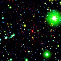 this fase color image shows most distant galactic cluster detected in red