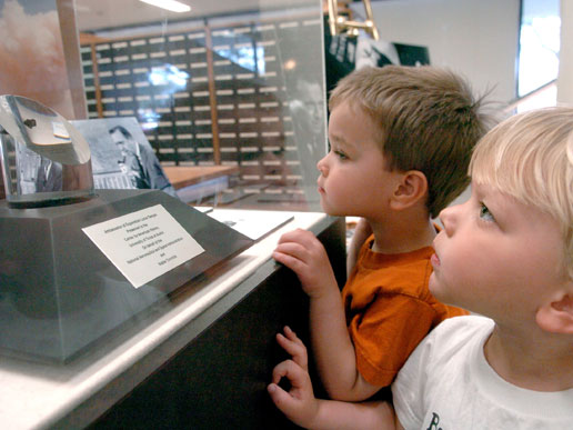 Zane and Paxton Gunn gaze at Wlater Cronkite's