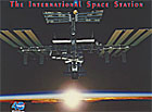 The words The International Space Station above an image of the ISS