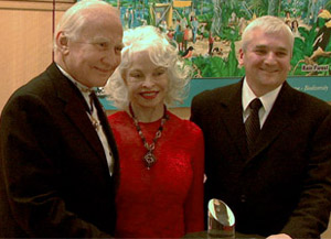 Buzz Aldrin, his wife Lois, and Dryden Center Driector Kevin L. Petersen