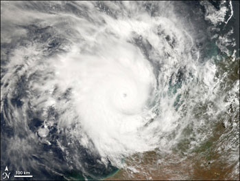 Image of Cyclone Glenda off Australia's coast taken by the MODIS Instrument on the Terra satellite on March 27, 2006.