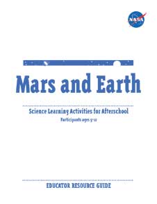 A line drawing of a satellite and a planet with the words Mars and Earth written in large text centered below