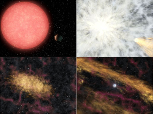 4 panels of artist concept showing explosion of massive star followed by creation of disk made up of star's ashes