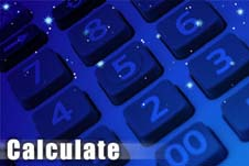 The word Calculate on a drawing of a calculator with tiny stars showing through the keys