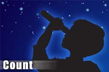 Illustration of a child looking through a telescope with the word Count in the foreground
