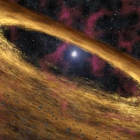 artist's concept depicts a type of dead star called a pulsar and the surrounding disk of rubble