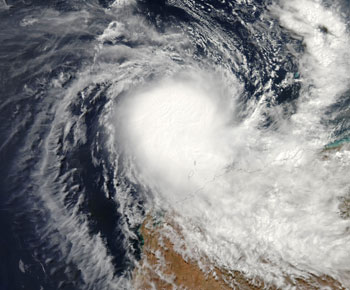 Tropical Cyclone Hubert off the coast of Australia on April 5, 2006.