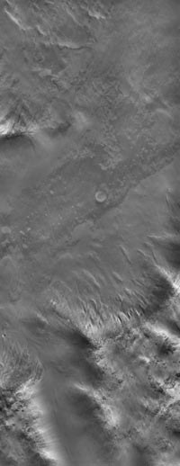 image shows part of a low mountain belt that rings the Argyre impact basin in Mars' southern hemisphere