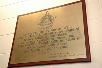 The plaque outside the Young-Crippen Firing Room