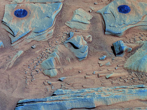 False-color image of the surfaces of rock targets informally named