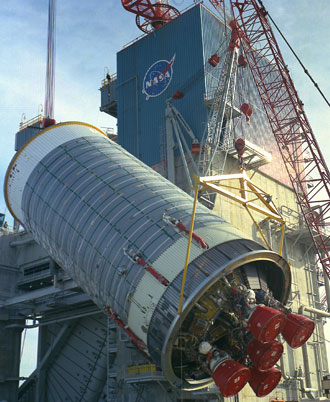 The first S-II-T booster to be tested at Stennis Space Center is installed on the A-2 Test Stand.