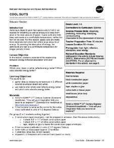 A photocopy of the front page of the Teacher's Activity Sheet