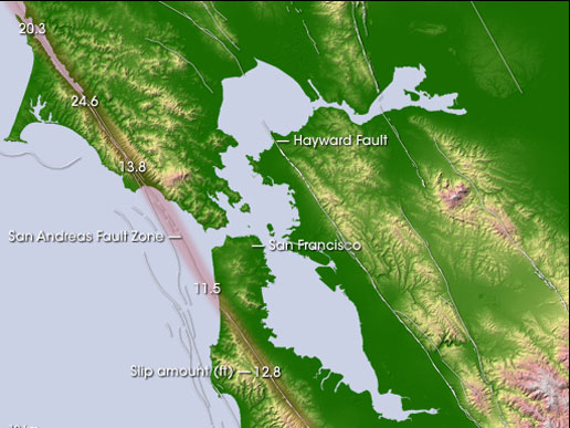 Topography of the San Francisco area, showing the San Andreas and Hayward Faults - Image Credit: NASA
