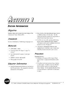A thumbnail of the first page of Activity 1, Station Information