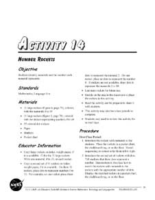 A thumbnail of the first page of Activity 14, Number Rockets