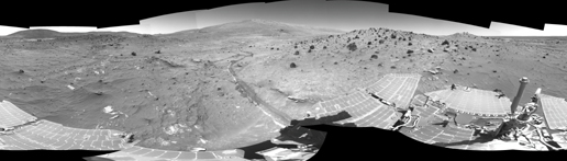 Spirit Greets New Terrain, New Season on Mars