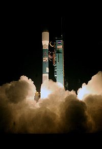 The Delta II rocket carrying CALIPSO and CloudSat lifts off from the pad.