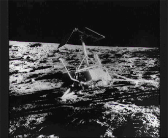 The unmanned Surveyor 3 spacecraft photographed during the Apollo 12 second extravehicular activity (EVA-2) on the surface of the Moon, November 20, 1969.