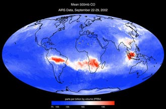 Airs data showing carbon monoxide in the troposphere