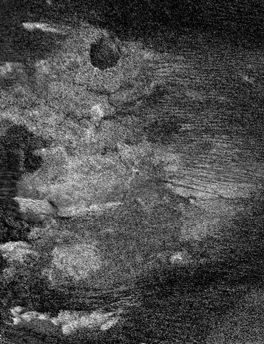 A region on Saturn's moon Titan, called Shikoku Facula