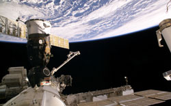 ISS013-E-08180 - A Soyuz spacecraft docked to the ISS.