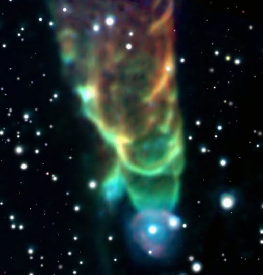 Herbig-Haro 49/50, a powerful jet located in the Chamaeleon I molecular cloud, is about 450 light-years distant.