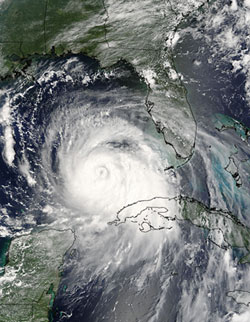 Image of Hurricane Katrina seen by the Aqua satellite.