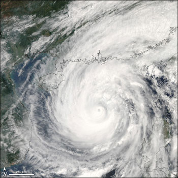 Image of Cyclone Chanchu captured by the Aqua satellite on May 16, 2006.