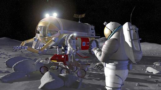 Dos astronautas y un robot recogen información de la superficie lunar. Ilustración: NASA