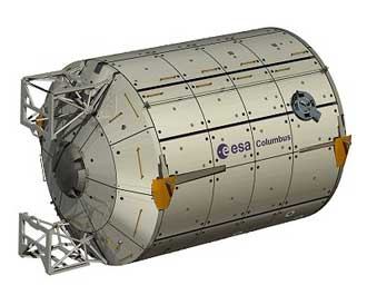 Illustration showing the Columbus module exterior.