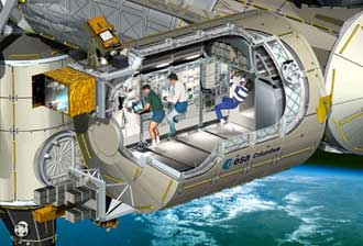 Illustration showing the Columbus module cutaway view with crew working inside.