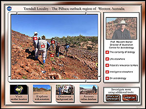 A screenshot from Virtual Field Trip showing five scientists standing on a parched, rocky hillside in the Australian Outback where ancient stromatolites were found