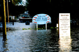 The Erath, Louisiana city park is flooded by three feet of water left behind by Hurricane Rita in this picture taken Sept. 25, 2005.